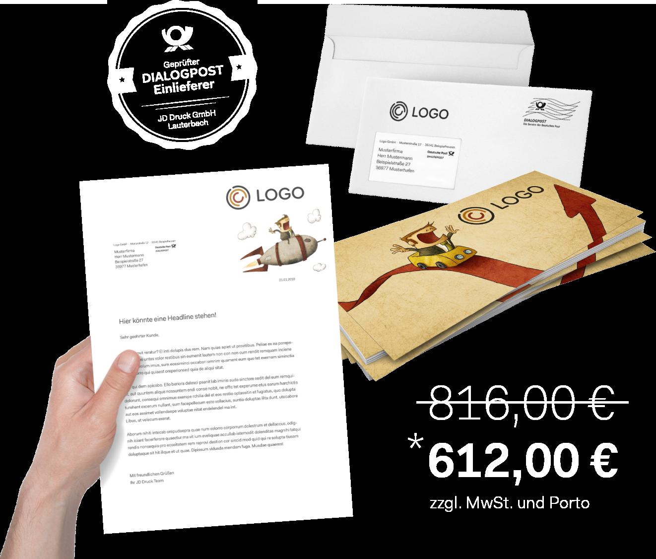 Digitaldruck / Lettershop Preisbeispiel DIN Lang Flyer, Briefpapier und Umschlag