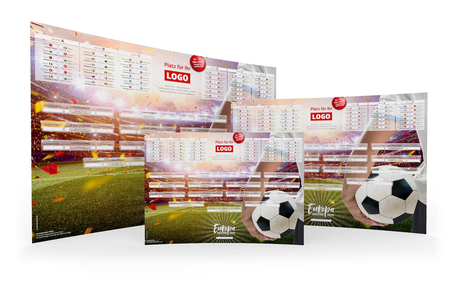 Fussball Spielplan Poster A3 A2 A1 Werbemittel EM 2020