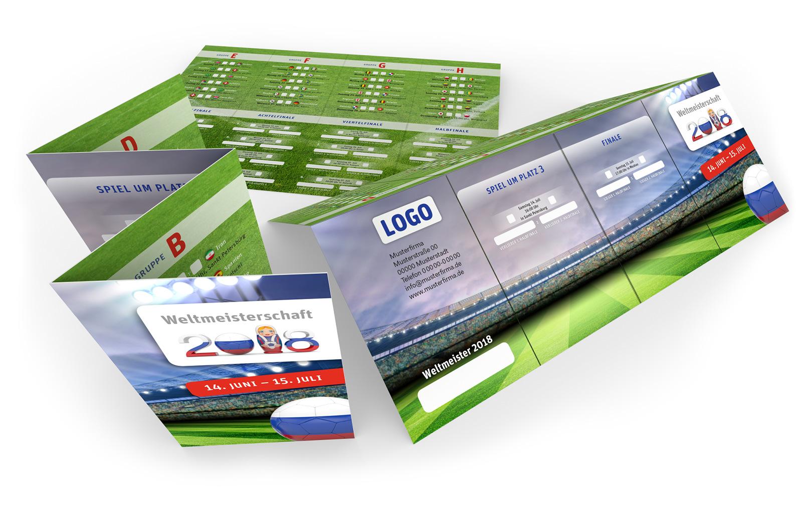 Fußball Spielplan WM 2018 Pocketplaner für die Hosentasche.