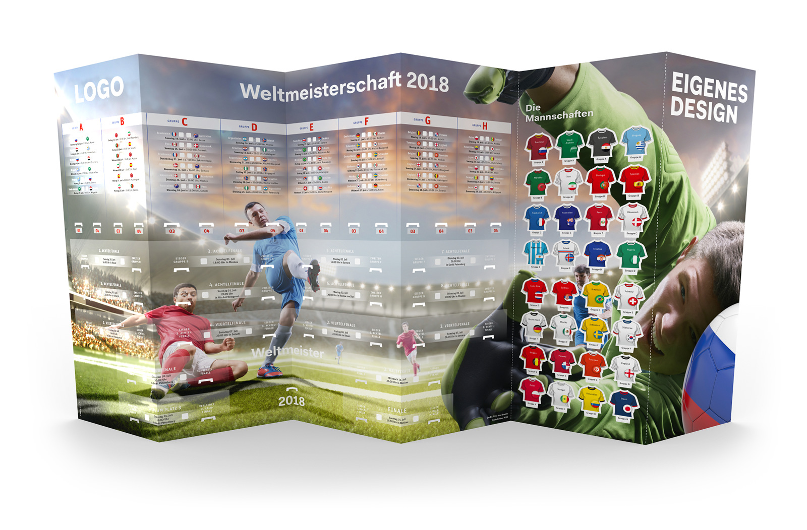 Fußball Spielplan WM 2018 – Wandplaner groß mit eigenem Design