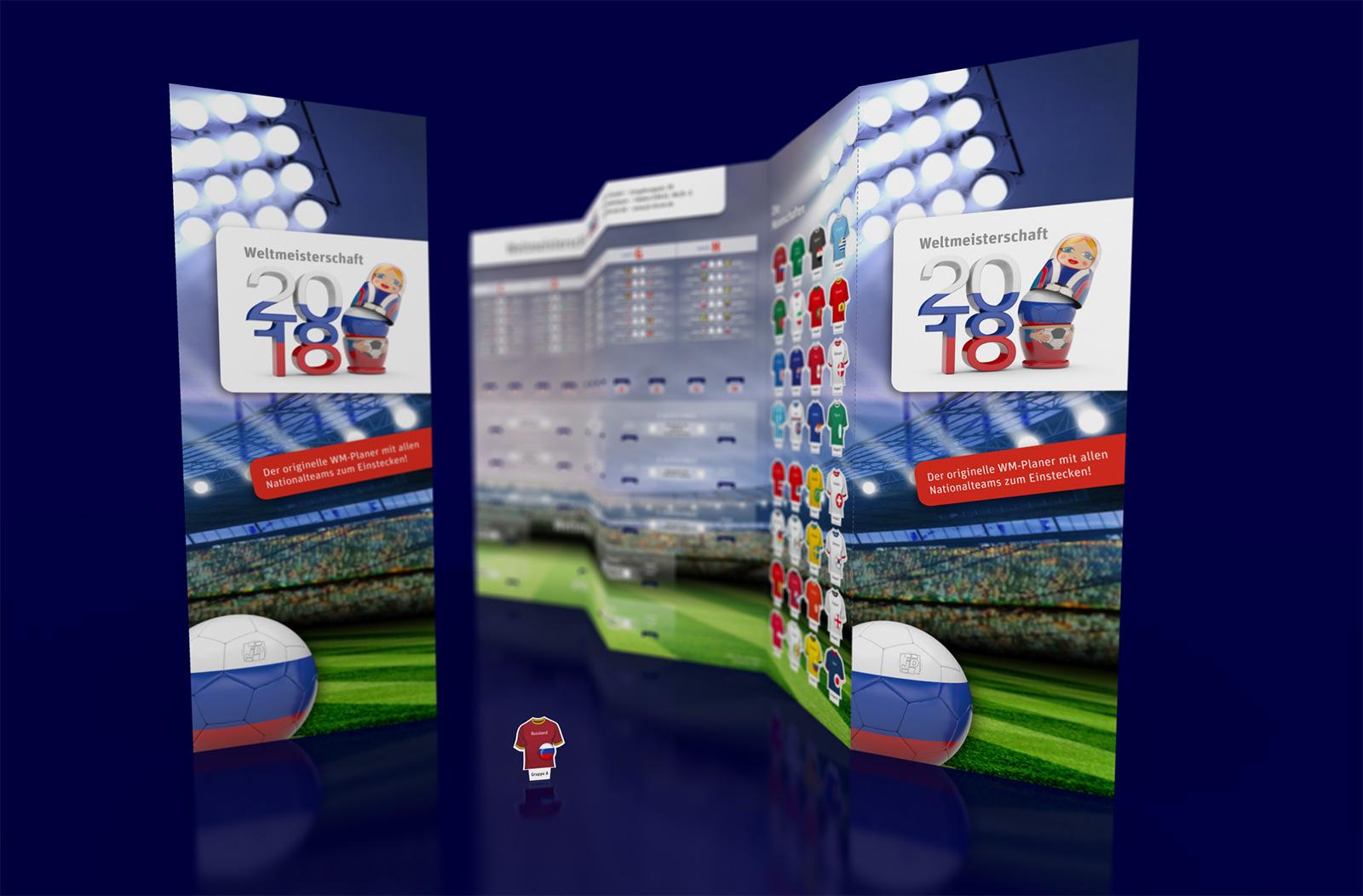 Fußball Spielplan WM2018 – Wandplaner groß mit Team-Trikots zum Einstecken