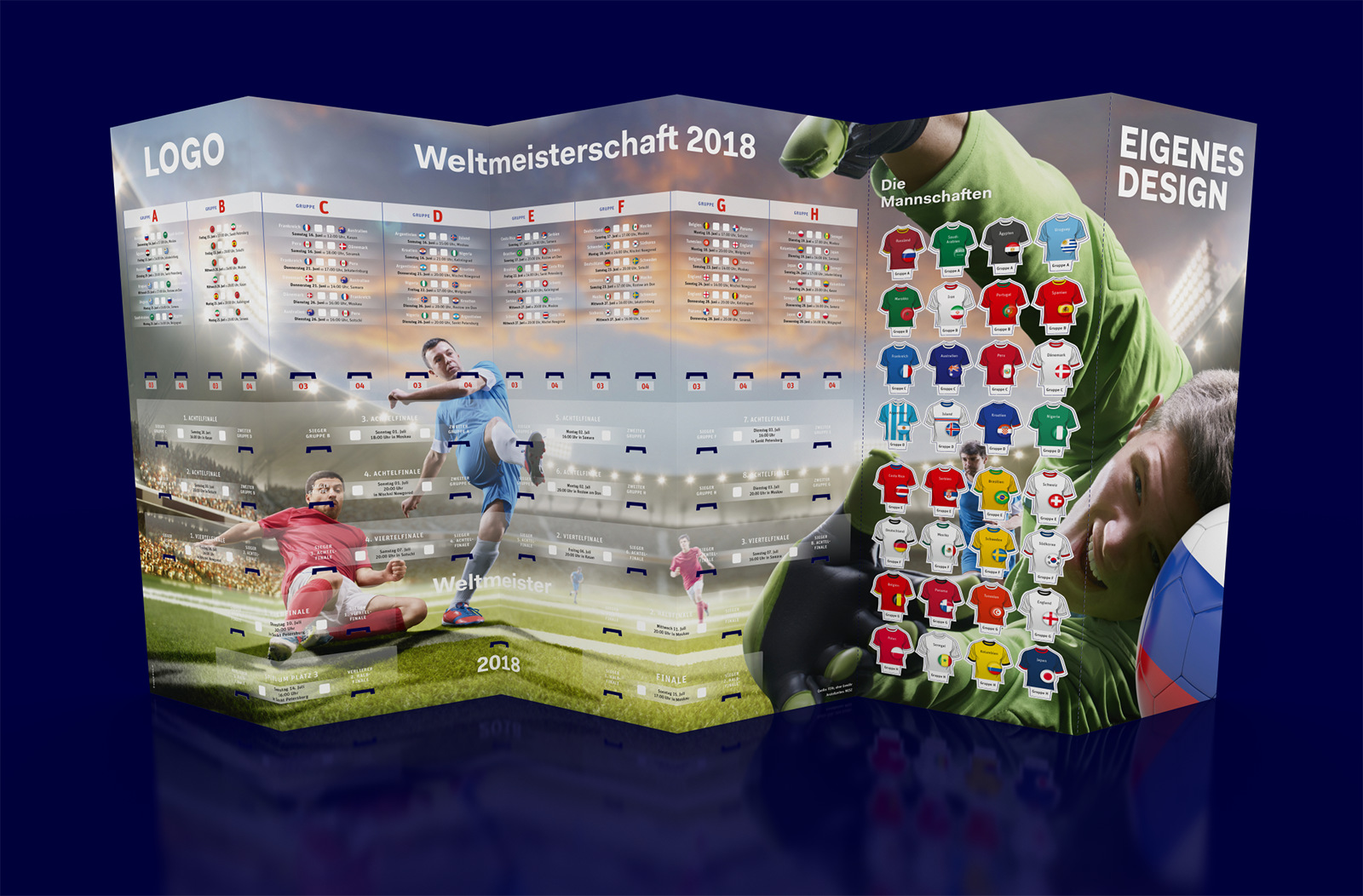 Fußball Spielplan WM2018 – Wandplaner groß mit eigenem Design