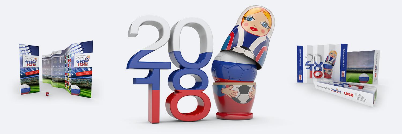 Originelle Werbemittel zur Fußball Weltmeisterschaft inRussland